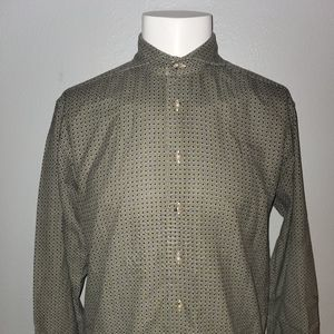 Suit Supply Olive Paisley Print Shirt 15.5 34/35